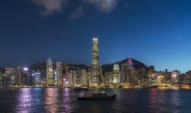 Άποψη λιμενικής νύχτας Βικτώριας Χονγκ Κονγκ στοκ φωτογραφίες