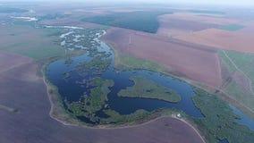 Άποψη λιμνών από τον κηφήνα, εναέρια άποψη απόθεμα βίντεο