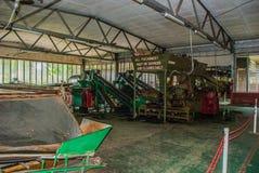 Άποψη μέσα σε ένα εργοστάσιο όπου τα φύλλα τσαγιού ξεραίνουν μέσα Sabah, Μπόρνεο, Μαλαισία Στοκ Εικόνα