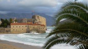 Άποψη μέσω στενού του επάνω φοινίκων, κύματα θάλασσας στην παραλία, παλαιά πόλη απόθεμα βίντεο