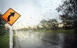 Άποψη μέσω του αλεξήνεμου της βροχερής ημέρας Στοκ Εικόνες