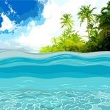 Άποψη μέσω των βαθών της ωκεάνιας ακτής με τους φοίνικες διανυσματική απεικόνιση
