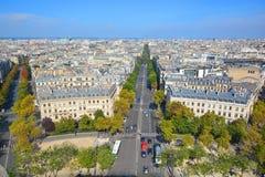 Άποψη ματιών πουλιών από Arc de Triomphe Παρίσι Στοκ εικόνες με δικαίωμα ελεύθερης χρήσης