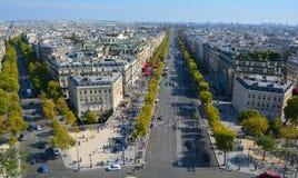 Άποψη ματιών πουλιών από Arc de Triomphe Παρίσι Στοκ εικόνα με δικαίωμα ελεύθερης χρήσης