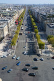 Άποψη ματιών πουλιών από Arc de Triomphe Παρίσι Στοκ Φωτογραφίες