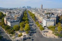 Άποψη ματιών πουλιών από Arc de Triomphe Παρίσι Στοκ Εικόνα