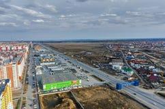 Άποψη ματιών πουλιών επάνω στο προάστιο της πόλης Tyumen Στοκ Εικόνες
