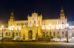 Άποψη μεσάνυχτων Plaza de Espana Σεβίλη Στοκ Εικόνες