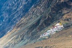 Άποψη μοναστηριών Diskit, κοιλάδες Nubra, Ladakh, Ινδία Στοκ Εικόνες