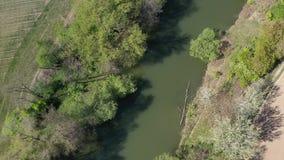 Άποψη μυγών επάνω από το νεκρό κανάλι ποταμών στα της Κεντρικής Ευρώπης πεδινά κατά τη διάρκεια της άνοιξη, 4K απόθεμα βίντεο