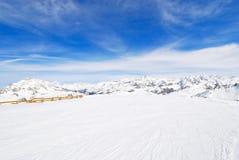 Άποψη να κάνει σκι της περιοχής στην περιοχή Paradiski, της Γαλλίας Στοκ Φωτογραφία