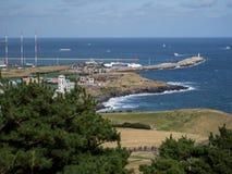 Άποψη νησιών Jeju από την κορυφή της αιχμής ανατολής Seongsan Ilchulbong Στοκ Εικόνες