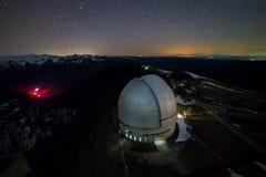 Άποψη νύχτας άνωθεν στο μεγάλο θόλο του τηλεσκοπίου του ειδικού αστροφυσικού παρατηρητήριου στα βουνά Arkhyz Στοκ φωτογραφία με δικαίωμα ελεύθερης χρήσης
