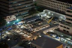 Άποψη νύχτας ενός εργοτάξιου οικοδομής Στοκ Φωτογραφία