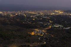 Άποψη νύχτας Κόστα ντελ Σολ από Mijas Ισπανία Στοκ Εικόνα