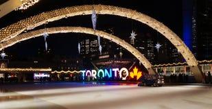 Άποψη νύχτας πέρα από λαμπρά φωτισμένη για τη νέα παραμονή έτους την αίθουσα παγοδρομίας πατινάζ με το σημάδι του ΤΟΡΟΝΤΟΥ στον κ στοκ εικόνα