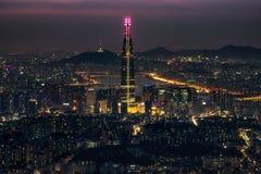 Άποψη νύχτας πέρα από τη Σεούλ Στοκ Εικόνες