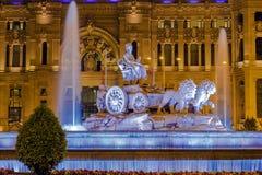 Άποψη νύχτας πηγών Cibeles στη Μαδρίτη Στοκ φωτογραφίες με δικαίωμα ελεύθερης χρήσης