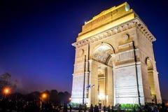 Άποψη νύχτας πυλών της Ινδίας στοκ φωτογραφίες με δικαίωμα ελεύθερης χρήσης