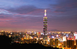 Άποψη νύχτας πόλεων της Ταϊπέι Στοκ φωτογραφία με δικαίωμα ελεύθερης χρήσης