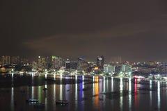 Άποψη νύχτας στην πόλη Pattaya, Ταϊλάνδη Στοκ Εικόνες