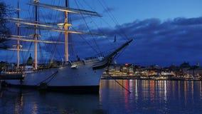 Άποψη νύχτας στη Στοκχόλμη, Σουηδία απόθεμα βίντεο