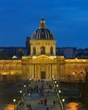Άποψη νύχτας στο Institut de Γαλλία, Παρίσι Στοκ Φωτογραφία
