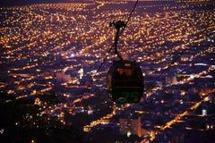 Άποψη νύχτας τελεφερίκ, παράβλεψη της πόλης salta, Αργεντινή Στοκ Εικόνες