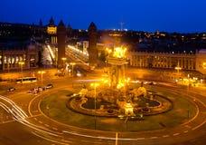 Άποψη νύχτας της Βαρκελώνης Στοκ φωτογραφία με δικαίωμα ελεύθερης χρήσης