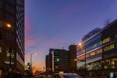 Άποψη νύχτας της εικονικής παράστασης πόλης του Σικάγου την 1η Φεβρουαρίου 2012 στο Σικάγο Στοκ Εικόνες