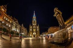 Άποψη νύχτας της ελευθερίας τετραγωνικός-Trg Slobode-στο Νόβι Σαντ, Serbi Στοκ φωτογραφία με δικαίωμα ελεύθερης χρήσης