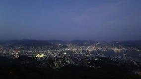 Άποψη νύχτας της Ιαπωνίας Ναγκασάκι, από Inasayama απόθεμα βίντεο