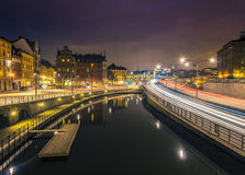 Άποψη νύχτας της παλαιάς πόλης, Στοκχόλμη. Στοκ Εικόνα