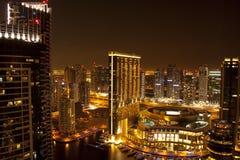 Άποψη νύχτας της πόλης του Ντουμπάι στοκ εικόνα