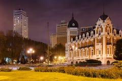 Άποψη νύχτας της πλατείας της Ισπανίας στη Μαδρίτη, = Στοκ Φωτογραφία