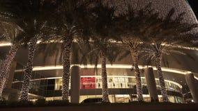 Άποψη νύχτας του βίντεο μήκους σε πόδηα αποθεμάτων λεωφόρων μαρινών του Ντουμπάι απόθεμα βίντεο