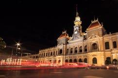 Άποψη νύχτας του Δημαρχείου, Saigon, πόλη Χο Τσι Μινχ, Βιετνάμ Στοκ εικόνες με δικαίωμα ελεύθερης χρήσης