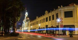 Άποψη νύχτας του Δημαρχείου, Saigon, πόλη Χο Τσι Μινχ, Βιετνάμ Στοκ Φωτογραφίες