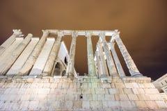 Άποψη νύχτας του ναού της Diana στο Μέριντα, πλάγια όψη Στοκ Εικόνες