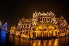 Άποψη νύχτας του ουγγρικού κτηρίου του Κοινοβουλίου στοκ φωτογραφία