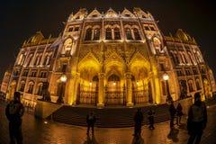 Άποψη νύχτας του ουγγρικού κτηρίου του Κοινοβουλίου στοκ φωτογραφίες
