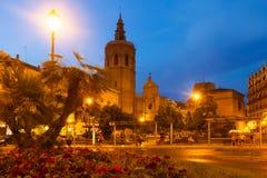 Άποψη νύχτας του πύργου και του καθεδρικού ναού Micalet Ισπανία Βαλέντσια Στοκ φωτογραφίες με δικαίωμα ελεύθερης χρήσης