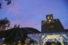 Άποψη νύχτας του χειμερινού φεστιβάλ τέχνης πριονιδιού στο Λαγκούνα Μπιτς στοκ εικόνα
