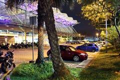 Άποψη νύχτας του χώρου στάθμευσης κοντά στο σταθμό βαρκών, Σιγκαπούρη jan 2018 στοκ εικόνες με δικαίωμα ελεύθερης χρήσης