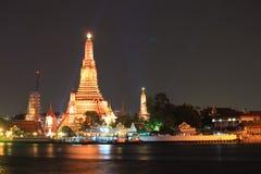 Άποψη νύχτας του phra prang wat arun Στοκ Εικόνα