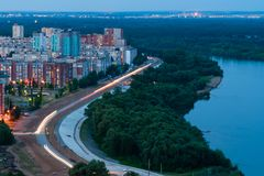 Άποψη νύχτας του Ufa Στοκ Φωτογραφίες