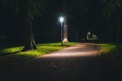 Άποψη νύχτας των θέσεων λαμπτήρων ολλανδικών πάρκων και αστραπής Στοκ εικόνες με δικαίωμα ελεύθερης χρήσης