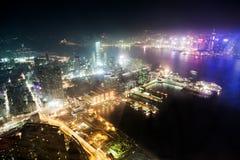 Άποψη νύχτας Χονγκ Κονγκ Στοκ Εικόνες