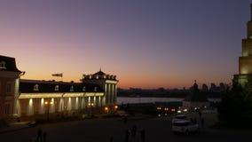 Άποψη νύχτας Kazan Κρεμλίνο Ταταρία Ρωσία Κλειδωμένος πυροβολισμός απόθεμα βίντεο