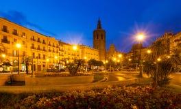 Άποψη νύχτας Plaza de Λα Reina. Βαλένθια Στοκ Εικόνες